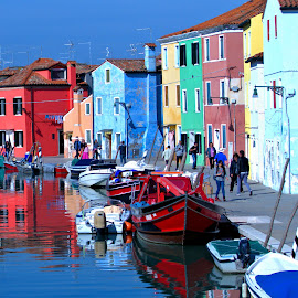 Burano #2 by Cal Brown - City,  Street & Park  Street Scenes ( pastels, historic district, burano, city, street scene, street, italy, street photography,  )