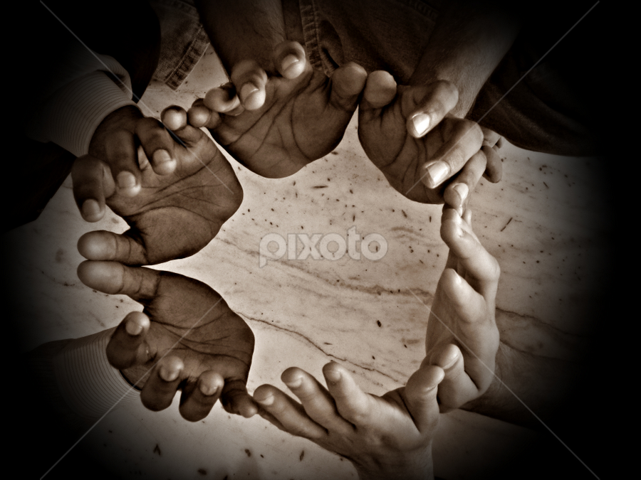 Hands by Anshul Sukhwal - People Body Parts ( friends, hands, fingers, three, pwchands, circle )