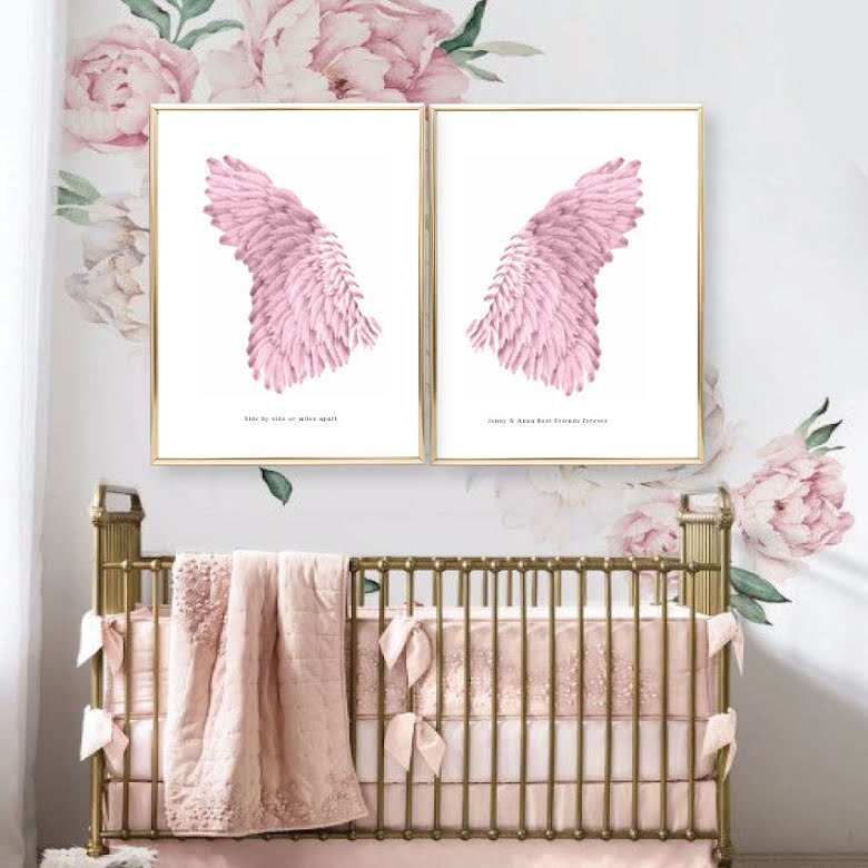 PINK ANGEL WINGS PARPOSTERS 2 st posters