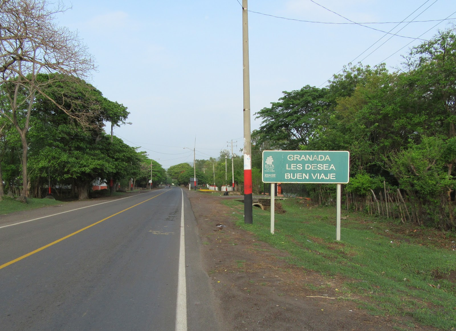 Cycling Mombacho Volcano - roadway sign on Hwy 4