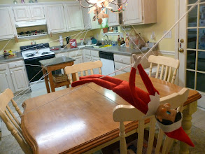 Photo: December 11 - created an elf zip-line system in the kitchen