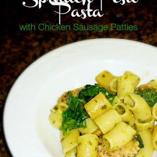 Spinach Pesto Pasta with Chicken Sausage.