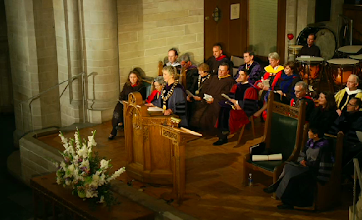 Photo: Jill Tiefenthaler, the 13th President of Colorado College, addresses the audience at inauguration.
