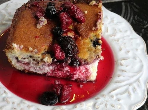 """Click Here for Recipe: Triple Berry Cheesecake Cobbler """"My family loves cheesecake..."""
