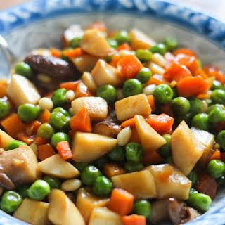 Sautéed Peas and Trumpet Mushroom.