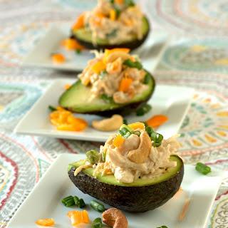 Cashew Chicken Salad Stuffed Avocados.