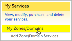 My Zones/Domains link