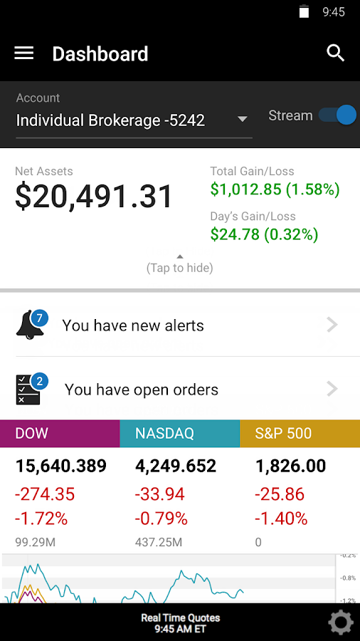 E*TRADE Mobile- screenshot
