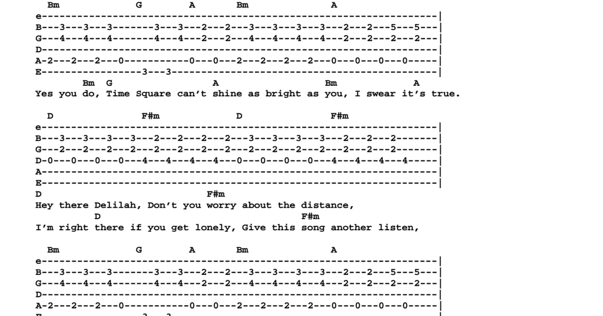 Plain White T - Hey There Delilah (chords + tab).pdf - Google Drive