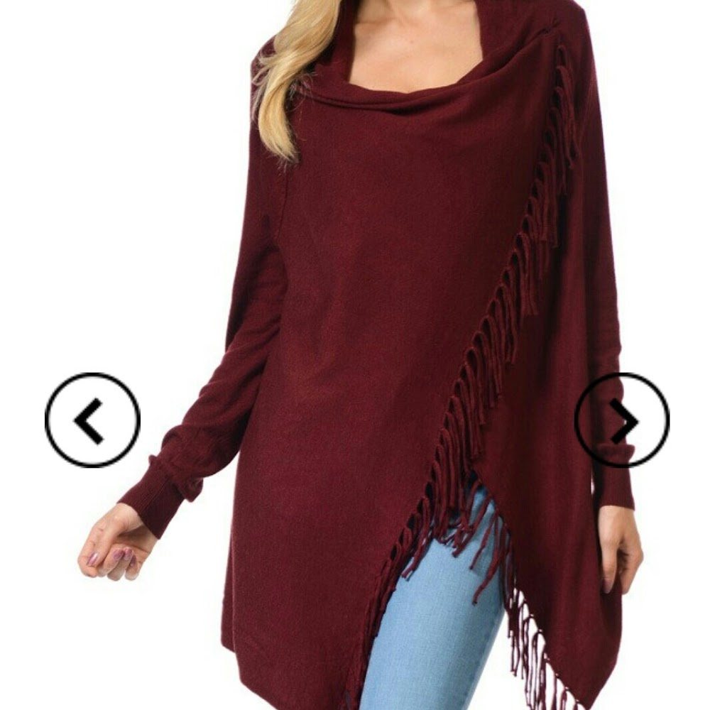 Super cute long sleeve cardigan with fringed hem just arrived!🎁👌The perfect gift for a loved one, or just for you to have.  #calicotureboutique #holiday #shopping #cardigan #fringecardigan #like4like #share #instagood #instafashion #burgundy
