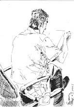 Photo: 書信檢查2011.05.27鋼筆 同事仔細地檢查著每一封收容人寄出寄入的信件,而我則在他身後畫了起來… 嗯…神韻有像! 知道最難畫的是哪裡嗎? 哪? 你那頭亂髮! 哈哈哈!