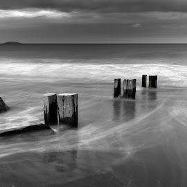 by John Holmes - Black & White Landscapes ( sky, waves, coastline, wave lines, clouds, cork, summer, rock, sand, strand, youghal, beach, sunset, groynes )