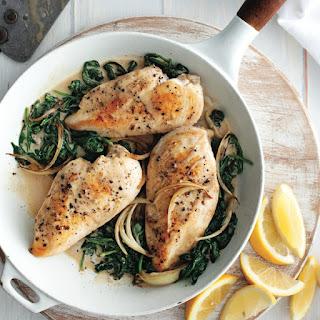 Lemon-garlic Chicken With Creamy Spinach.