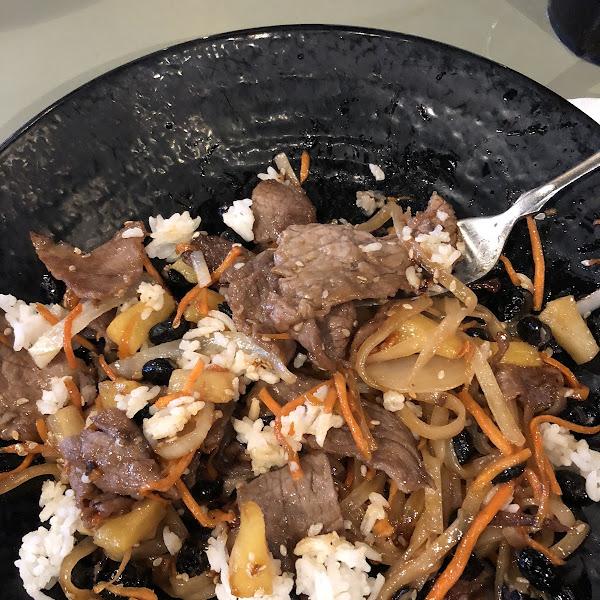 Teriyaki with pad Thai rice noodles