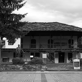 Време by Georgi Kolev - Black & White Buildings & Architecture ( небе., площад., храсти., дървета., сгради. )