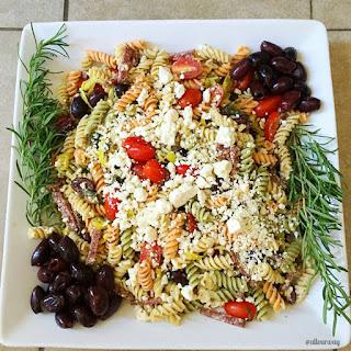 Mediterranean Herb Antipasto Pasta Salad Platter.