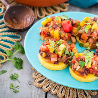 Polenta with Black Beans and Mango Salsa