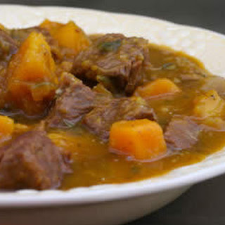 Beef and Butternut Squash Stew with Rosemary and Balsamic Vinegar.