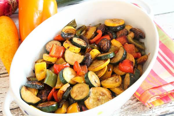 Balsamic Grilled Vegetables In A Serving Bowl.