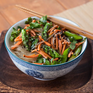 Asparagus Noodle Salad with Sesame Ginger Vinaigrette