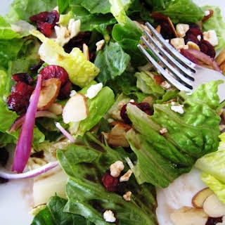 Romaine and Cranberry Salad with Feta, Balsamic, and Almonds.