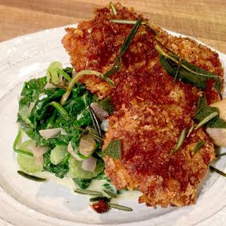 Cornflake Crusted Chicken Thighs with Creamed Spinach.