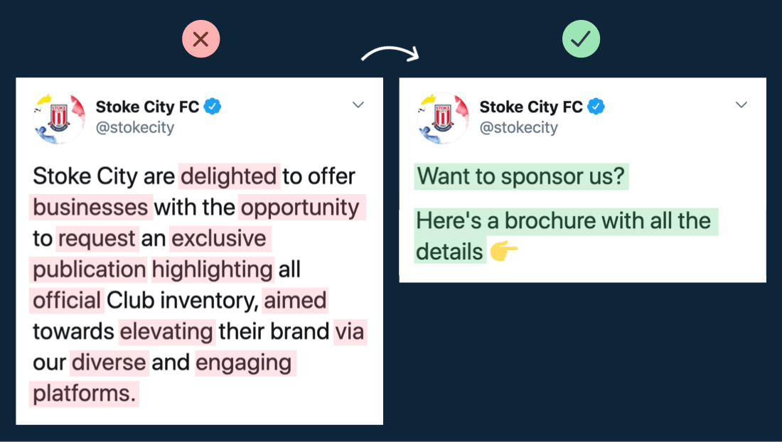 A marketing example of the power of simplifying copywriting in a tweet.