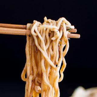 Japanese 'Sukiyaki' – simmered beef with noodles.