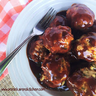 Baked Chicken Meatballs with Tangy BBQ Sauce.