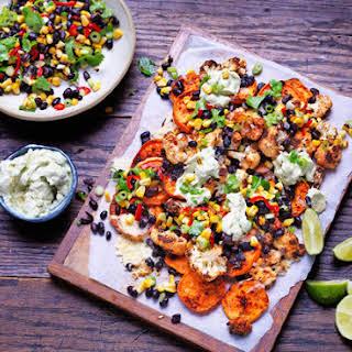 Sweet Potato And Cauliflower Nachos With Chargrilled Corn Salsa.
