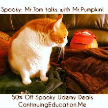Photo: Spooky: Mr.Tom talks with Mr.Pumpkin! 50% Off Spooky Udemy Deals #intercer #cat #cats #pet #pets #animal #education #udemy #school #college #student #beautiful #pretty #sweet #learn #teach #teach2013 #team petsofinstagram #book #affiliate #deal #halloween #spooky #pumpkin #lantern - via Instagram, http://instagram.com/p/gEgdVFJfuG/