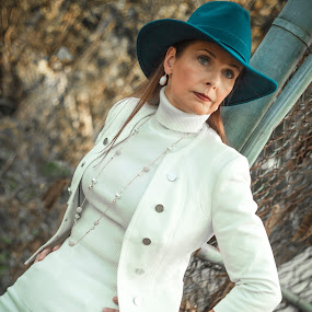 Teal Hat by Malik Marcell - People Portraits of Women ( film, woman, teal, portrait, gate )