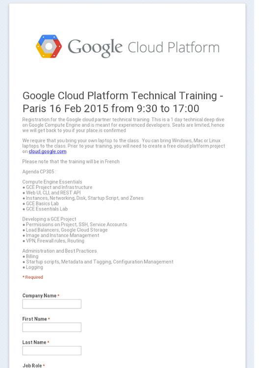 Google Cloud Platform Technical Training - Paris 16 Feb 2015 from 9:30 to 17:00