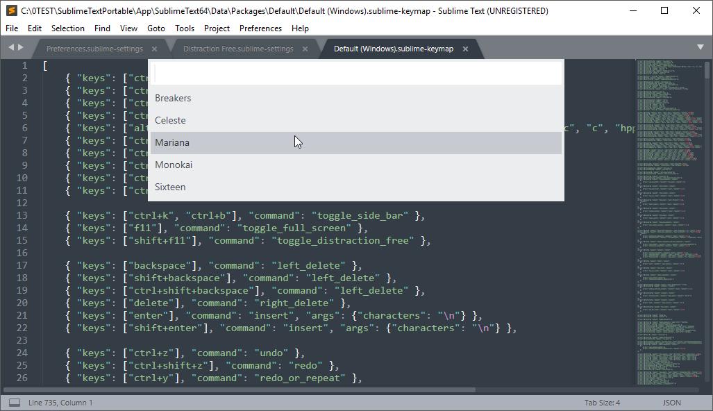 thumbapps.org Sublime Text portable, Preferences → Color Scheme...