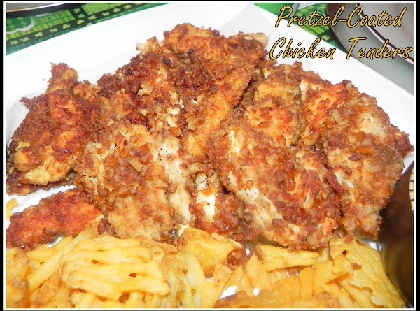 When finished cooking up chicken, clean out the crumbs of pretzels and pour the...