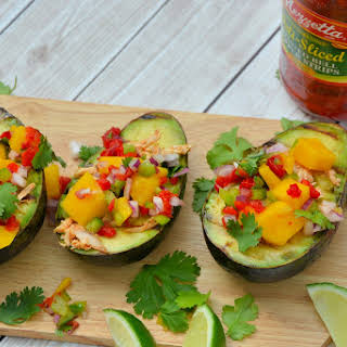 Grilled Avocados with Peruvian Chicken and Mango Salsa.