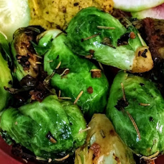 Brussels Sprouts with Sundried Tomatoes and Onions.