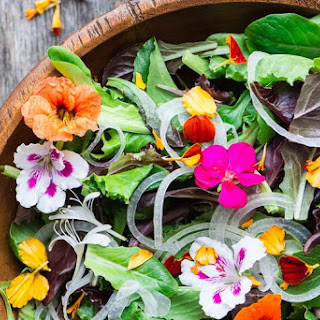 Spring Salad with Edible Flowers.