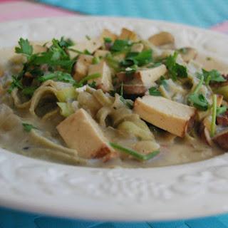 Smoked Tofu and Mushroom Carbonara With 'Mung Bean' Pasta [Vegan, Gluten-Free].