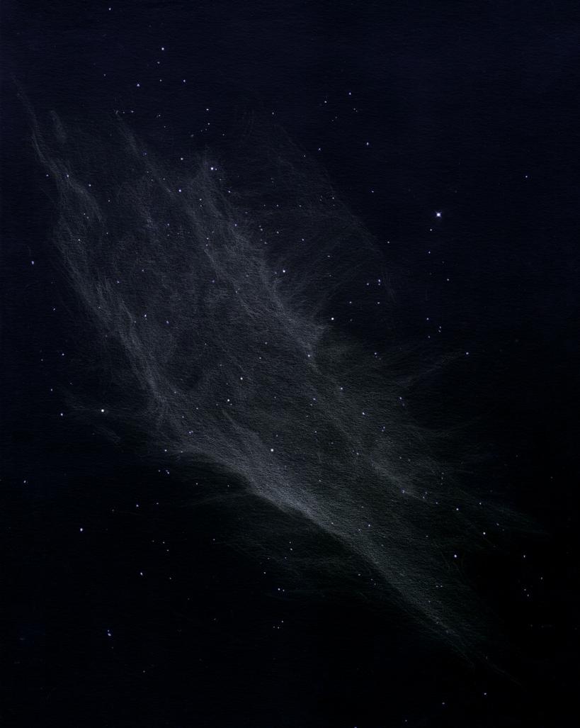 Photo: La nébuleuse Californie (NGC 1499), au T406 et filtre H-Beta à 88X, le 11/11/2012 à Ste Gemme. Presque toute la nuit a été nécessaire pour dessiner cette gigantesque nébuleuse diaphane de 4° de long. Sur champ stellaire préparé.