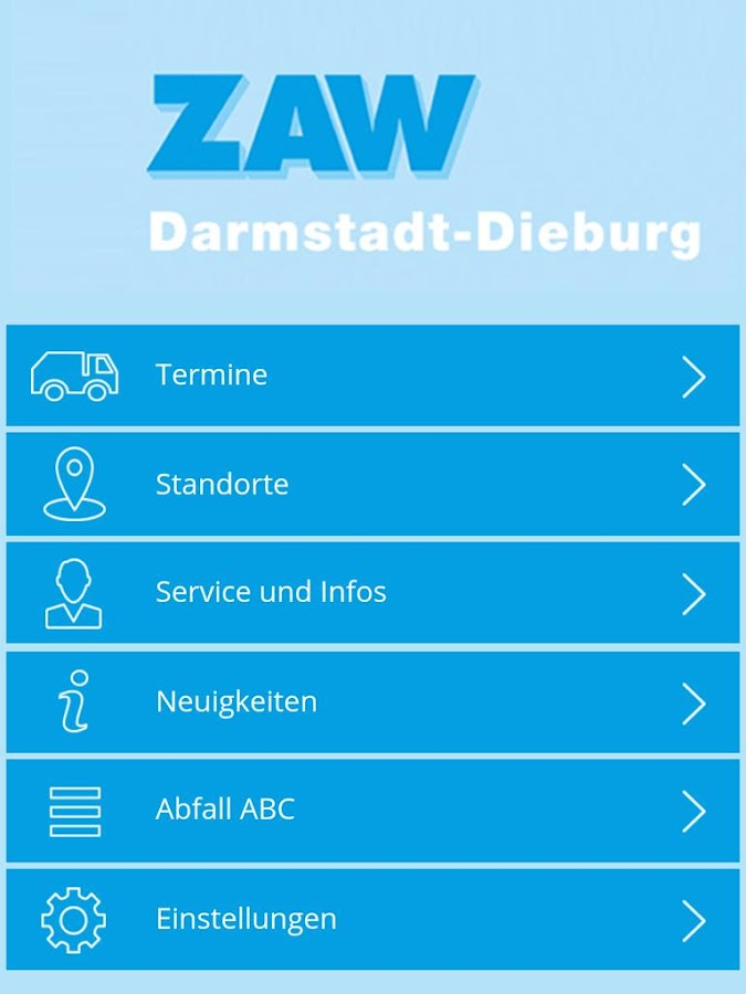 ZAW Abfall App- screenshot