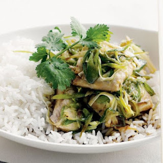 Soy Fish With Spring Onion And Ginger.