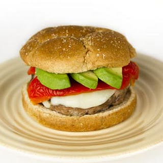 Turkey Burger with Mozzarella and Roasted Red Peppers