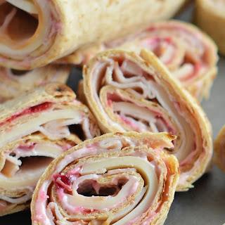 Turkey, Swiss and Cranberry Mayo Roll-Ups