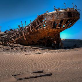 Eduard Bohlen Shipwreck by Johan Jooste Snr - Travel Locations Landmarks ( eduard bohlen, stranded, namib desert, rusted steel, shipwreck, ship, rust, namibia )