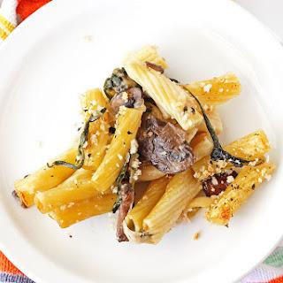Spinach Mushroom Alfredo Baked Ziti.