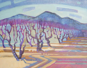 """Photo: Peach Orchard, Early March, acrylic on canvas 11"""" x 14"""" by Nancy Roberts, copyright 2014."""