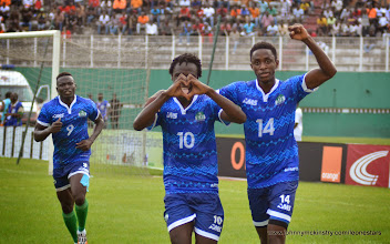 Photo: Kei Kamara celebrates his goal ' heart shaped hands' ...[Leone Stars v Ivory Coast, 6 September 2014 (Pic © Darren McKinstry / www.johnnymckinstry.com)]