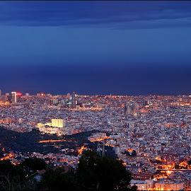 Barcelona by Joe Balynas - City,  Street & Park  Skylines ( spain, cities, night, barcelona )
