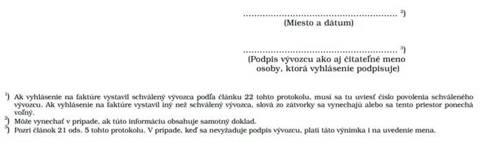 Декларация-инвойс Словакия
